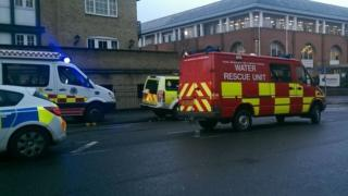 Emergency services at scene of water rescue in Reading