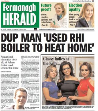 Fermanagh Herald front page Friday 27th Jan 2016