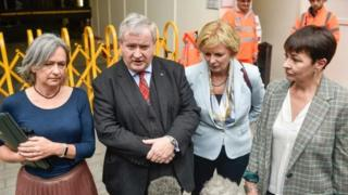 Liz Saville Roberts, Ian Blackdord, Anna Soubry and Caroline Lucas after a meeting on Monday