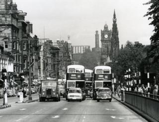 Cars and buses on Princes Street, 1964.