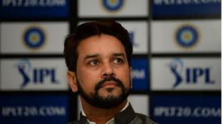 Board of Control for Cricket in India (BCCI) President Anurag Thakur looks on as he speaks during a press conference in New Delhi on September 18, 2016.