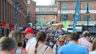 Crowds of people at Gloucester Docks