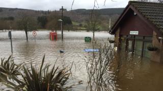 Flooding in the village of Aberfeldy, Perthshire, Scotland