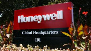 Honeywell global headquarters sign in the US
