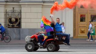 Nikolai Alexeyev unauthorized gay rights activists rally in central Moscow on May 30, 2015
