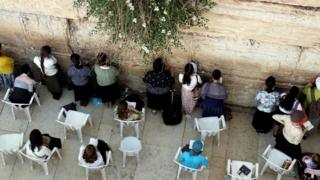 File photo taken on 16 May 2017 showing Jewish women praying at the Western Wall in the old city of Jerusalem