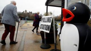 Penguin outside Arundel's lido that is a polling station for the day