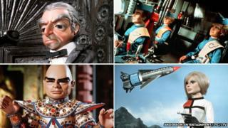 Thunderbirds characters (clockwise from top left) Parker, Scott, John and Gordon Tracy, Lady Penelope and The Hood