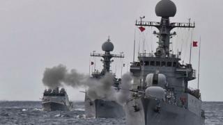 South Korean navy drills