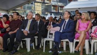 Prime Minister Malcolm Turnbull (centre left) and Opposition Leader Bill Shorten (centre right)