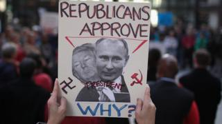 Плакат з Трампом і Путіним