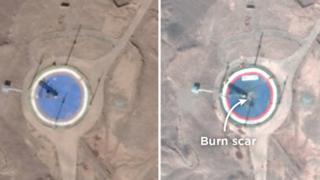 تصویر سمت راست را شرکت پلنت امروز (ششم فوریه) منتشر کرده و میگوید نسبت به تصویر چپ که ادعا شده متعلق به ۲۱ ژانویه است خراشهای سوختگی بروی آن وجود دارد