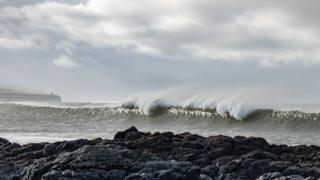Waves rolling in on the north coast of Northern Ireland