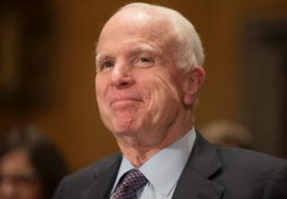 A photo taken on 10 January, 2017 shows Senator John McCain during a Senate Homeland Security and Governmental Affairs Committee hearing