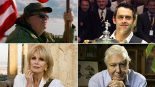 Michael Moore, Ronnie, O'Sullivan, Joanna Lumley and Sir David Attenborough