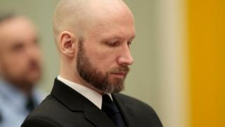 Anders Behring Breivik, sits in court on the third day of the appeal case in Borgarting Court of Appeal at Telemark prison in Skien, Norway