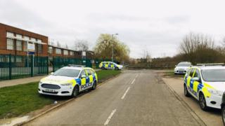 Police cars outside Westbourne Academy, Ipswich