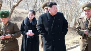 Kim Jong-un, Kim Yo-jong y otros mandos militares.