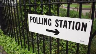 Sign to polling station