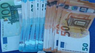 Euros seized by Irish police during raids in an organised crime investigation