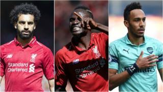 Mohamed Salah, Sadio Mane and Pierre-Emerick Aubameyang