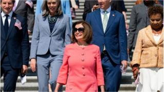 Speaker of the House Nancy Pelosi with fellow House Democrats
