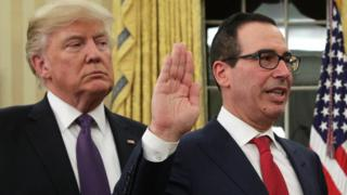 Former investment banker Steven Mnuchin participates in a swearing-in ceremony at the White House. 13 Feb 2017