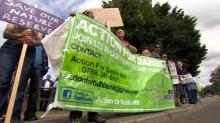 Protesters outside Babbs Mill