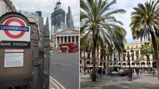 กรุงลอนดอน (ซ้าย) จะเปลี่ยนไปมีสภาพอากาศอบอุ่นขึ้นเหมือนนครบาร์เซโลนา (ขวา) แต่นี่อาจไม่ใช่เรื่องดีเสมอไป