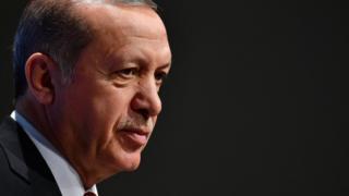 Turkey's President Recep Tayyip Erdogan attend a press conference at the G20 Summit in Hamburg. July 8, 2017