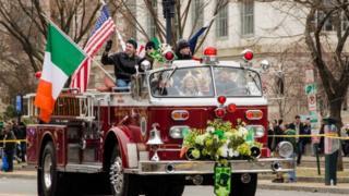 Fire truck at Washington St Patrick's parade