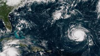 Hurricane Florence as it travels west and gains strength in the Atlantic Ocean southeast of Bermuda on September 10, 2018