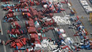Containers scattered like Lego bricks in Osaka's port