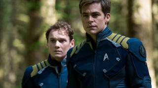 Anton Yelchin with Chris Pine