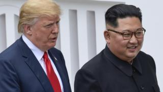 特朗普与金正恩在新加坡圣陶沙岛峰会场地(12/6/2018)