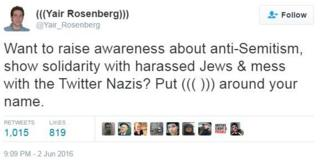 """Want to raise awareness about anti-Semitism, show solidarity with harassed Jews & mess with the Twitter Nazis? Put ((( ))) around your name."