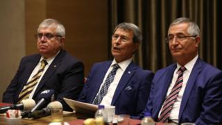 İYİ Parti kurucu üyelerinden Yusuf Halaçoğlu, Özcan Yeniçeri ve Nevzat Bor