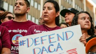 Protesters gather at the Federal Building in Los Angeles to show support for the Deferred Action for Childhood Arrivals (Daca) programme, 1 September 2017