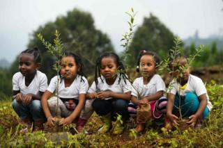 Five girls crouch down ready to plant their saplings in the soil.