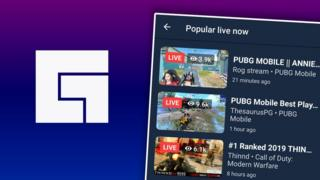 This composite image shows the Facebook gaming logo and a screenshot of popular live streams from within the app, both superimposed on a purple gradient background
