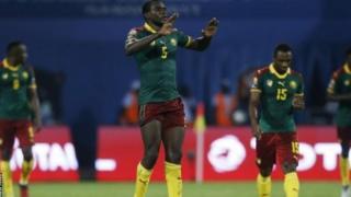 Michael Ngadeu-Ngadjui (bras levés) a ouvert le score de la demi-finale Cameroun-Ghana.