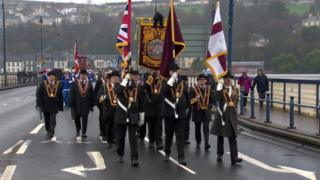 The Apprentice Boys marching over the Craigavon Bridge in Derry