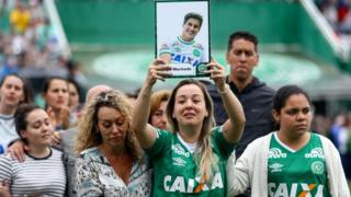 Fans and relatives of the victims took part in a funeral service at the Chapecoense stadium on Saturday - 3 Dec 16