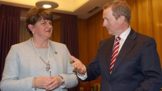 Taoiseach Enda Kenny with Northern Ireland First Minister Arlene Foster in Dublin to discuss Brexit on 15 November 2016