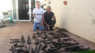 Billy and Neil Hopkins with their gun cache