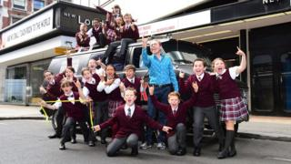Andrew Lloyd Webber and School of Rock cast