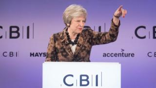 Theresa May at the CBI conference