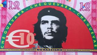 Fake 10 euro note with Che Geuvara on the back