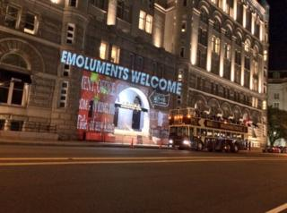 Projection by @bellvisuals on the Trump International Hotel in Washington DC on 15 May