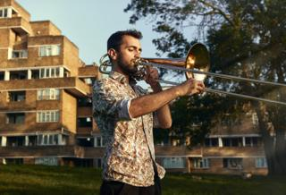 Yusuf Oliver Narcin and his bass trombone, East Dulwich, London